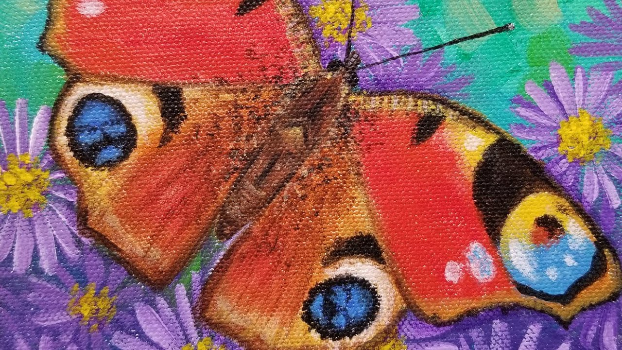 002651e6b45f0 Peacock Butterfly Acrylic Painting LIVE Instruction - YouTube