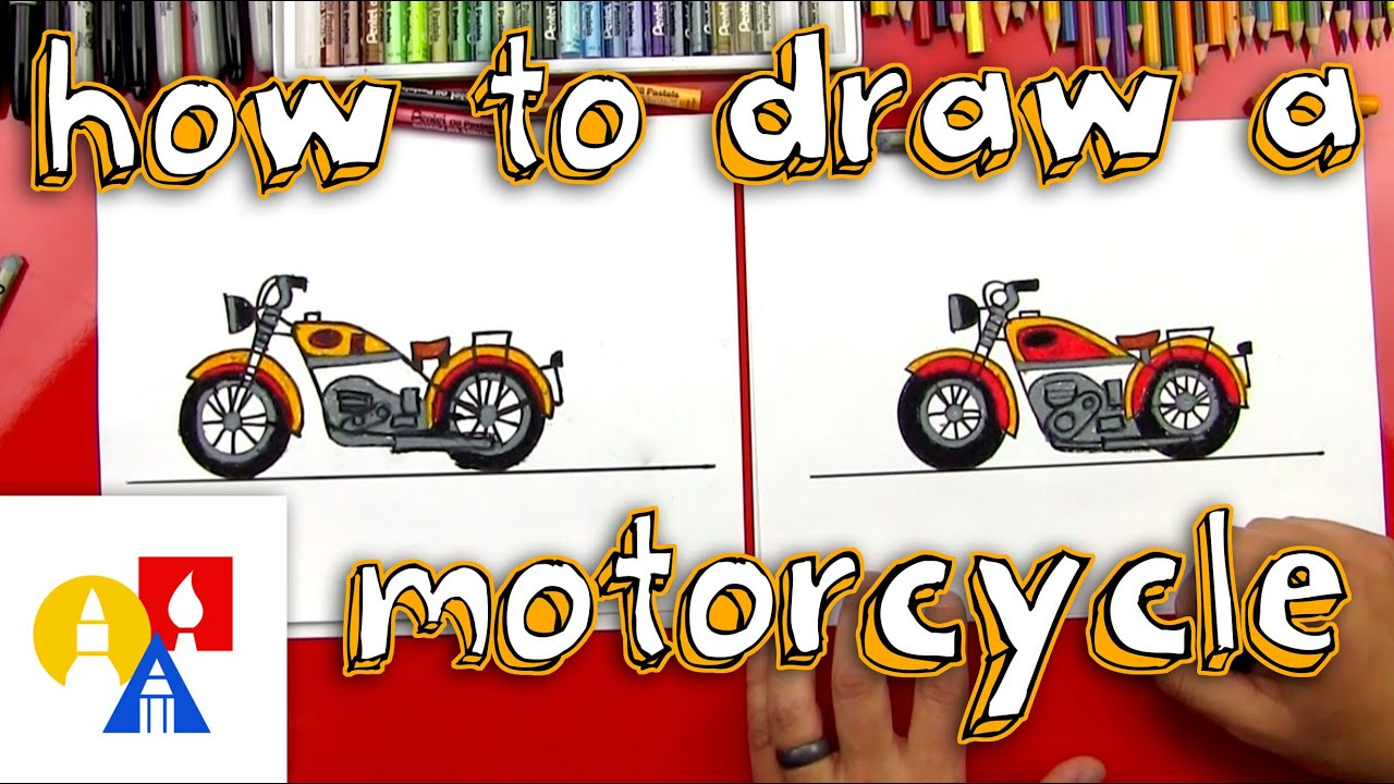 How To Draw A Motorcycle - YouTube