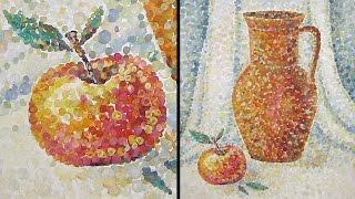 Speed Painting | Still-Life in Technique Pointillism | Gouache | IOTN