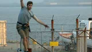 Man walking across the harbour by Ian Barry, Saint John NB (Friday 13 2012)