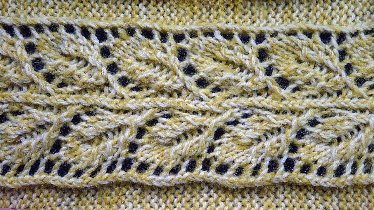 Ажурное вязание с листиками
