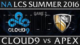 cloud 9 vs apex highlights game 2 na lcs week 7 day 2 summer 2016 c9 vs apx g2