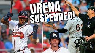 Ronald Acuna Jr HIT BY PITCH, Urena SUSPENDED 6 Games! MLB Umpire Caught Bat Flip? MLB Recap