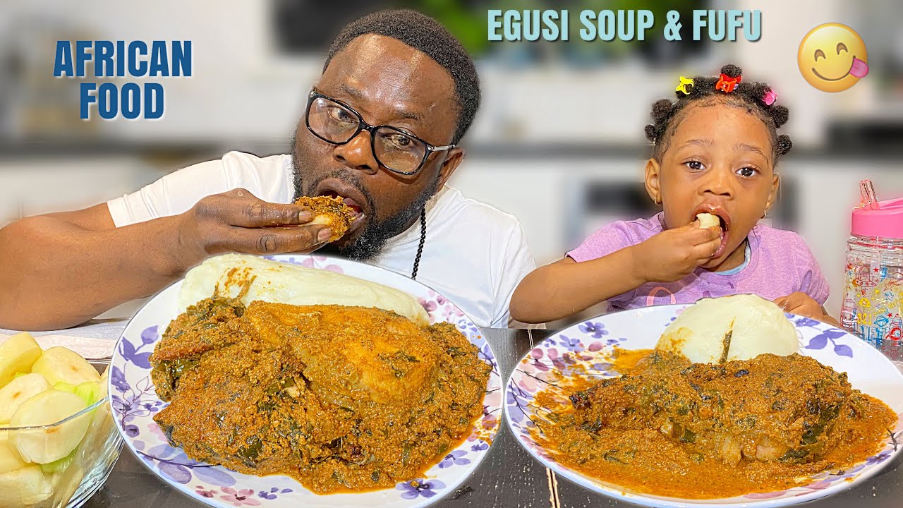 ASMR EATING MUKBANG EGUSI SOUP, SALMON FISH & FUFU  ft my 2 year old daughter | The Queens Family