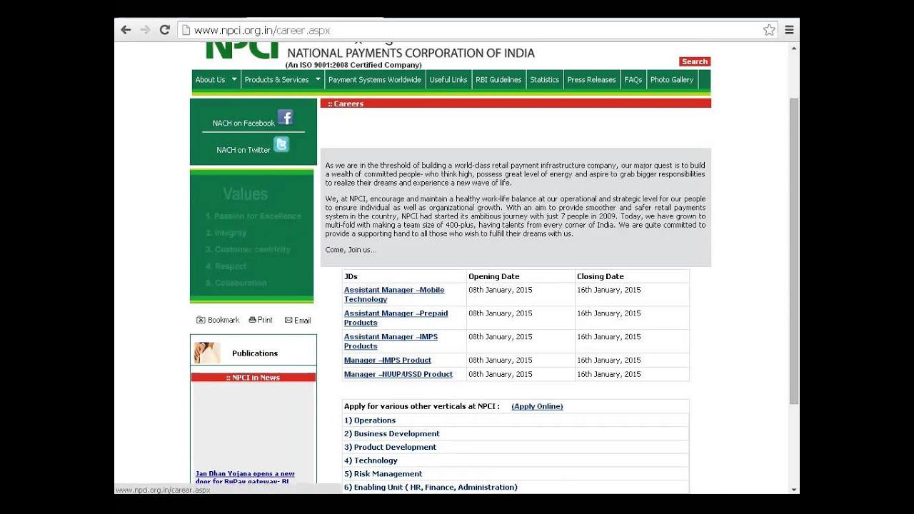 National payments corporation of india npci recruitment jobs 2015 national payments corporation of india npci recruitment jobs 2015 1betcityfo Image collections