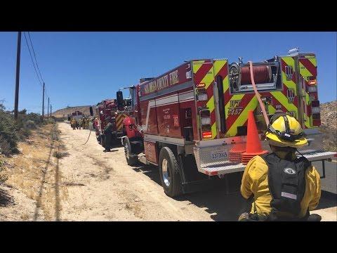 Car crash ignites brush fire in Jacumba, CA.