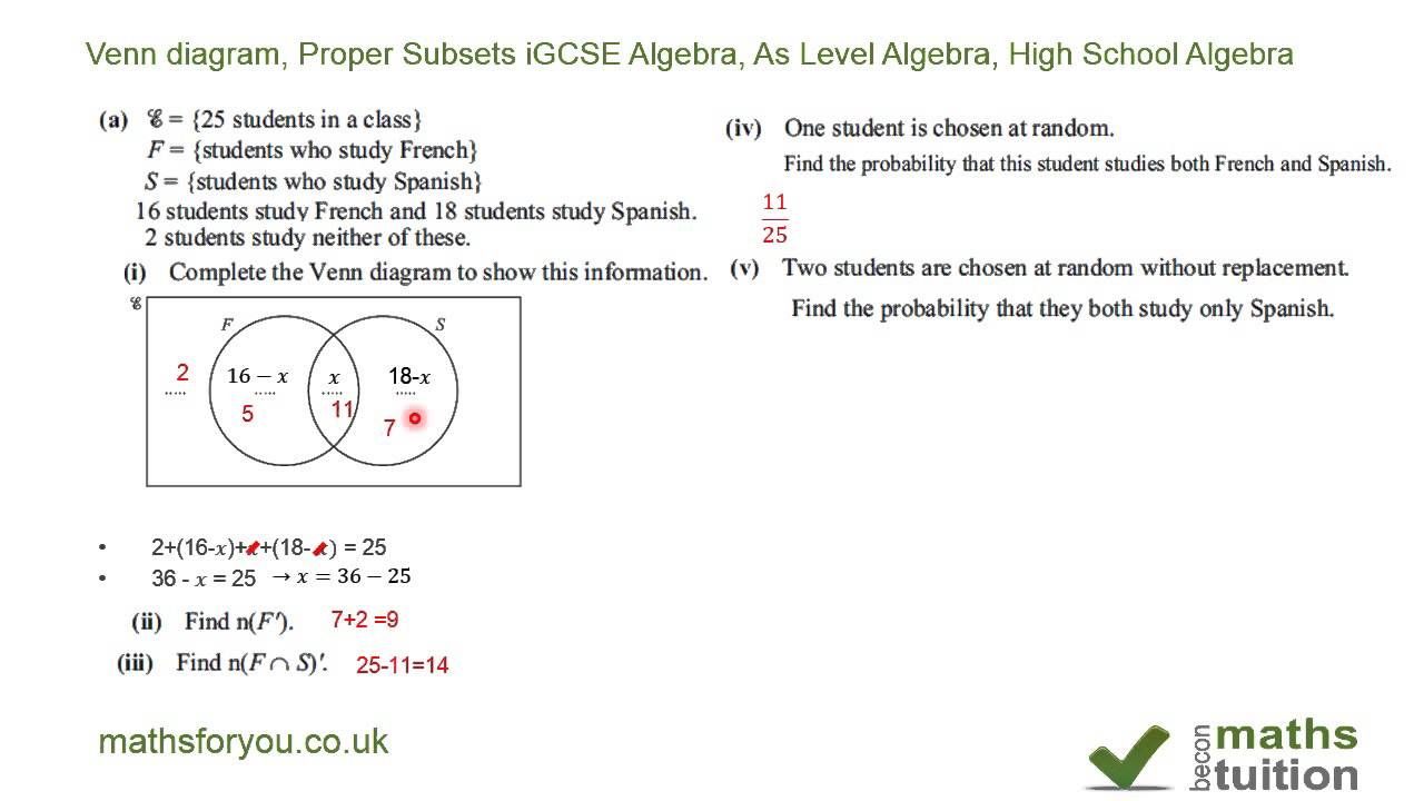 Venn diagram proper subsets igcse algebra as level algebra venn diagram proper subsets igcse algebra as level algebra high school algebra ccuart Image collections