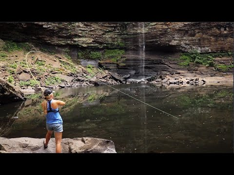 FLY-FISHING For CATFISH Below WATERFALL!!!! (AMAZING)