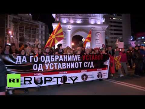 Macedonia: Thousands protest pardons of 'corrupt officials' in Skopje