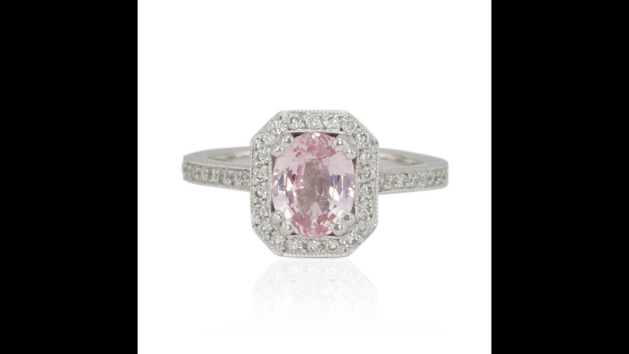 secondhand gold single ring sapphire diamond pink stone