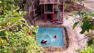 90 Days In Forest Build Four Story Mud House With Swimming Pool And Bamboo Water Slide Around House