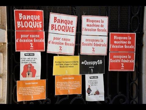 Panama papers : Attac bloque la Société Générale à Paris
