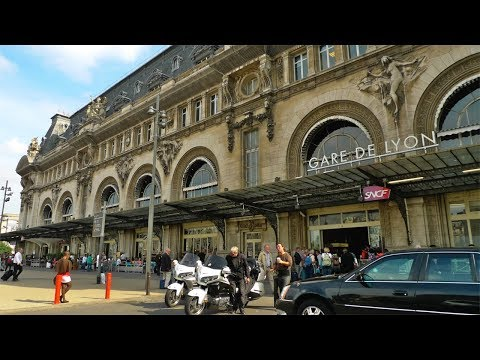 "GARE DE LYON  Station in Paris ,  ""Le Train Bleu"" Restaurant and Train Ride to Lyon, France"