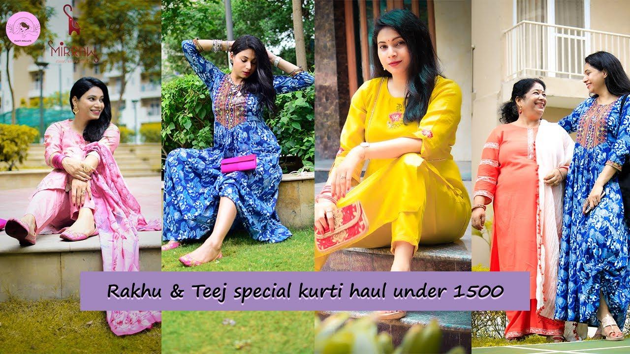 Rakhi & Teej Special Kurti Haul from Mirraw l Festive Haul 2021 | Kurtis ideas for your body type :)