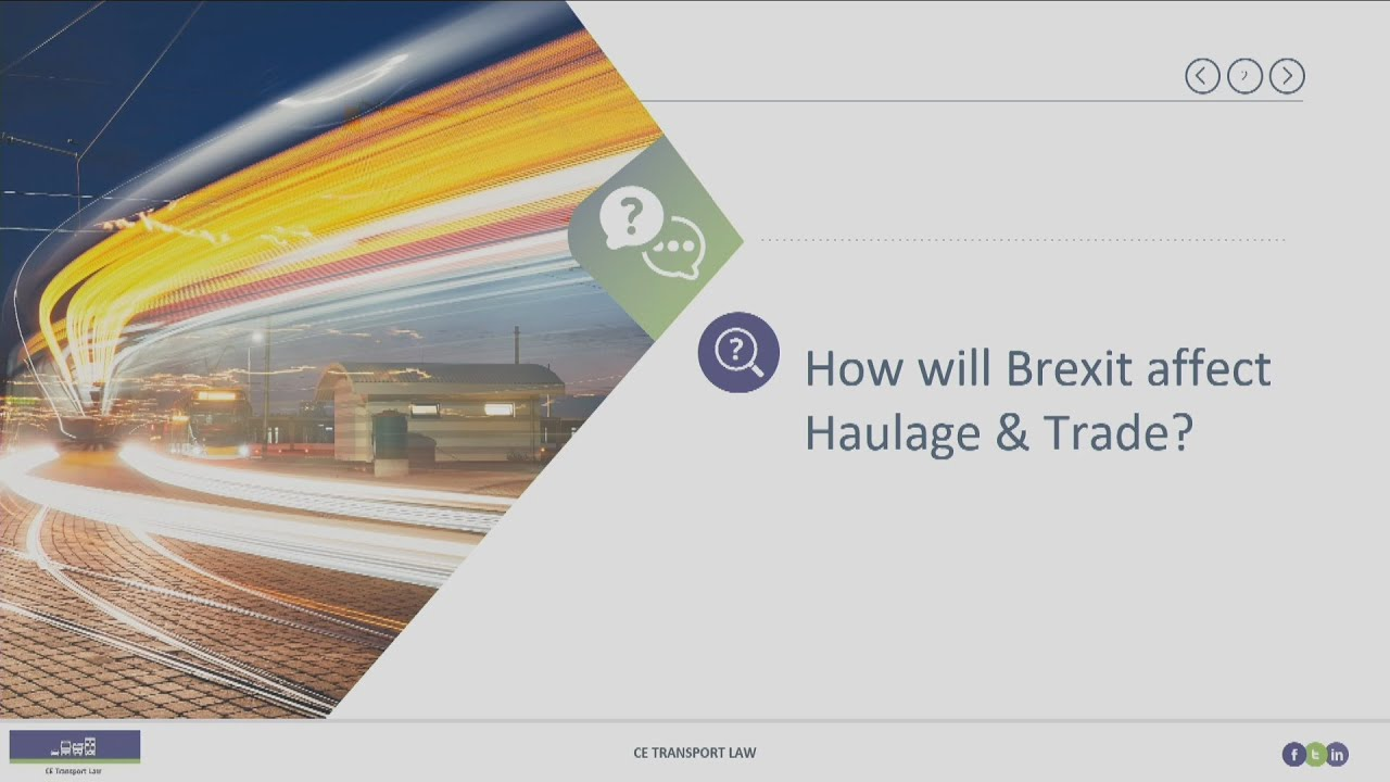 Brexit:  haulage + trade. Are you ready for 1 January 2021?