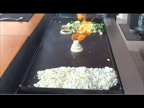 Hibachi Teppanyaki Griddle Top Cooking on a Outdoor Griddle Top