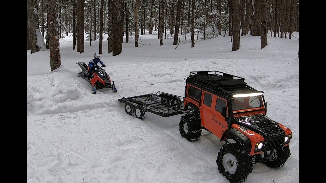 Rc snowmobile RMK (polaris rush long track) run on snown ...