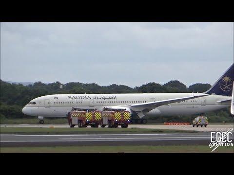 Saudi Arabian Airlines 787-9 Emergency Landing At Manchester Airport