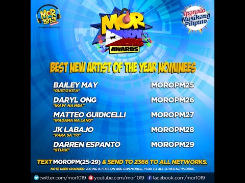 MOR Pinoy Music Awards Best New Artist Of The Year Nominees