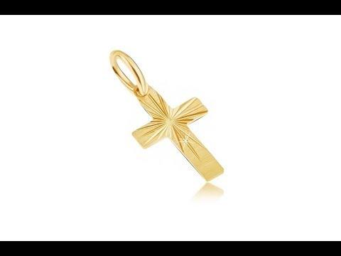 9603fd458 Šperky - Zlatý prívesok 585 - malý latinský kríž, široké ramená, saténový  povrch, ryhy