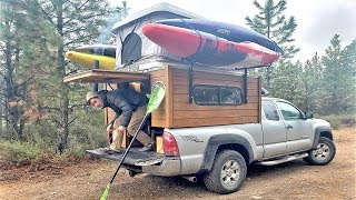 Nomad Firefighter Kayaker builds $3k Tiny Home on 4x4 Toyota Tacoma - On the Road for 4 years