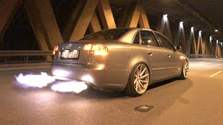 flaming audi a4 insane chiptuning