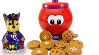 Learn Colors Videos for Kids: Paw Patrol Chase & Skye with Count and Learn Cookie Jar & Cookies