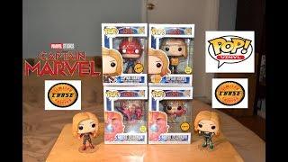 Funko Pop CAPTAIN MARVEL w/ LUNCH BOX & GOOSE (FLERKEN) GLOW & CHASE Figures!