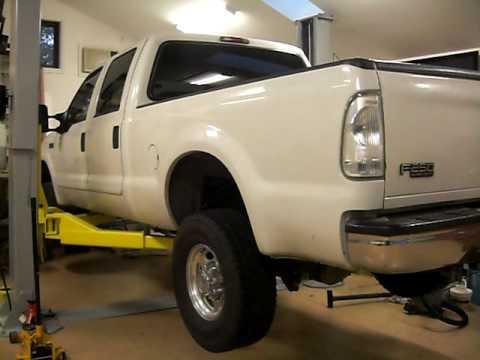 Ford F150 Lift >> Ceegos L-2055 2 post hoist lifting F250 crew diesel - YouTube