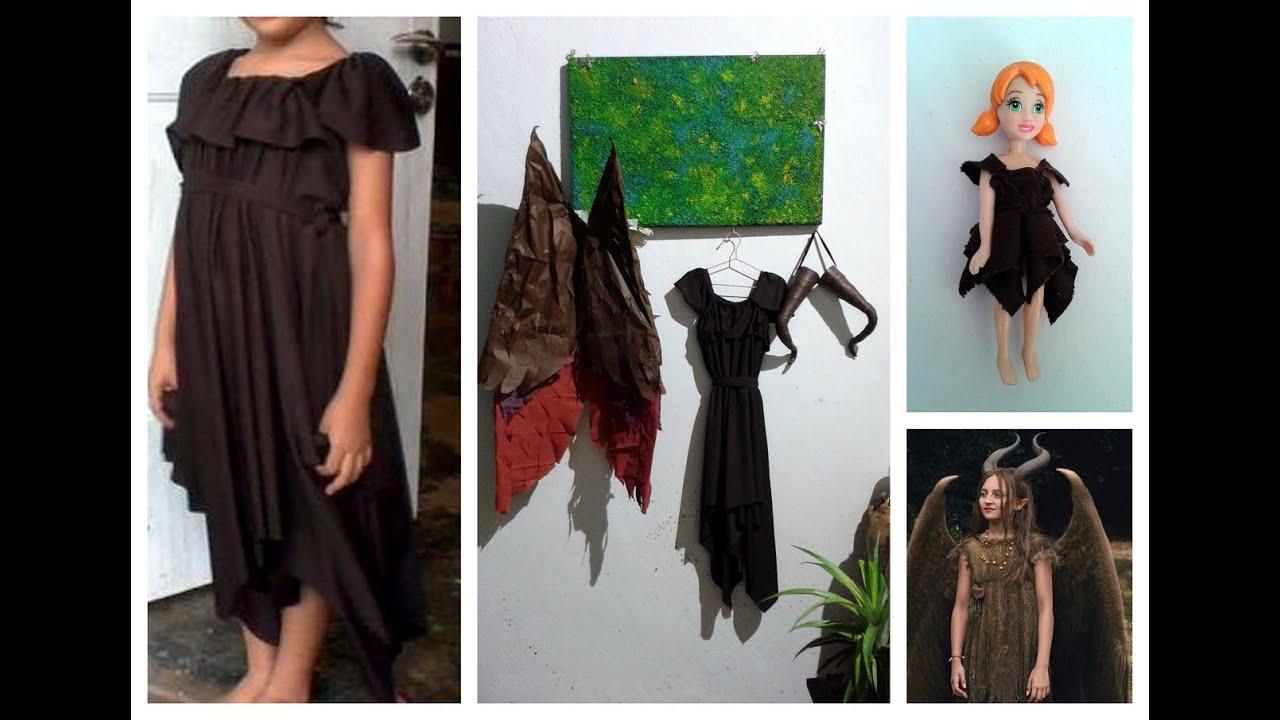 como hacer un vestido para nia con picos disfraz de malefica paso a paso