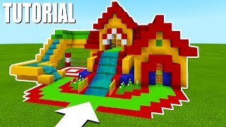 """Minecraft Tutorial: How To Make A Fun House Mansion """"Bouncy House with a Water Slide"""""""