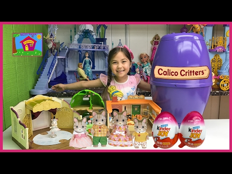 Huge Calico Critters Surprise Toys Egg w/ Baby Animals & Kinder Barbie Surprise Eggs for Kids Video