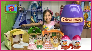 HUGE Calico Critters Surprise Egg Toys Baby Animals + Opening Kinder Eggs Surprises Beach Toy Barbie