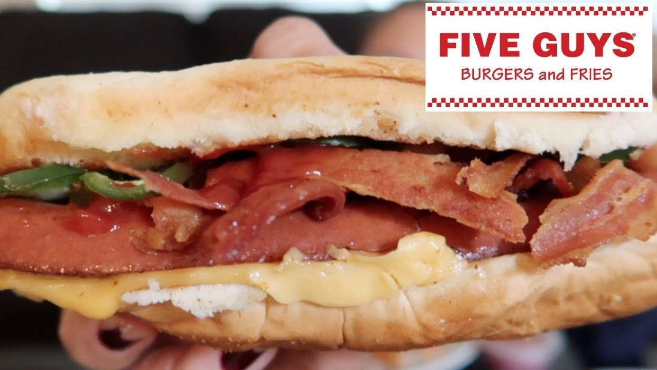 Five Guys Y Bacon Cheese Dog Cajun Fries Mukbang Eating Show