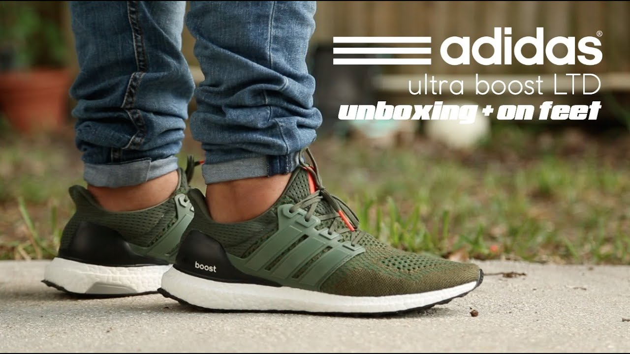b6f420bcab7f Adidas Ultra Boost LTD Base Green Unboxing + On Feet - YouTube