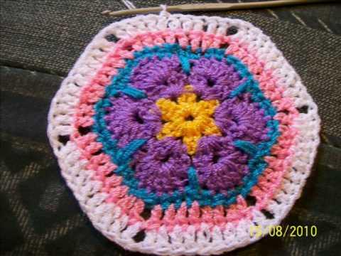 Tutorial Flor Africana a crochet . AFRICAN FLOWER - YouTube