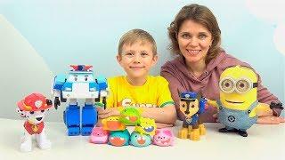 Робокар Поли и Щенячий Патруль ищут таланты - Музыкальные игрушки нотки Silly Squeaks