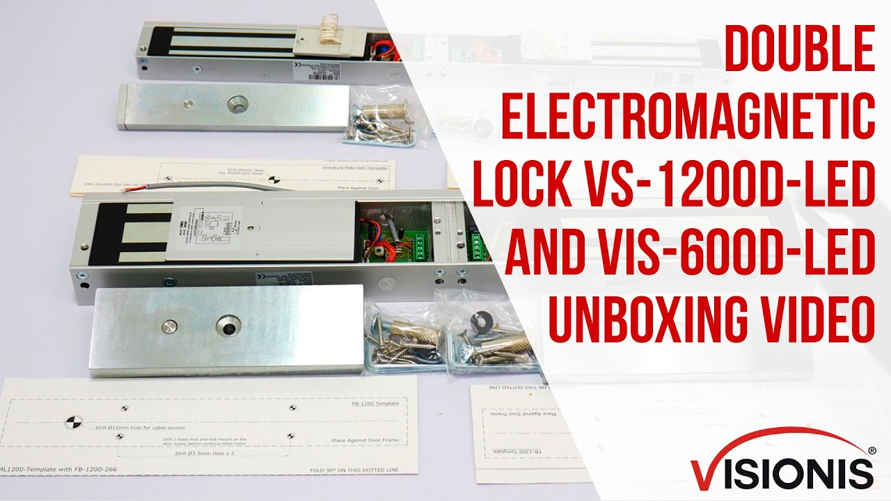 vs 1200d led double 1200 lbs electromagnetic lock fpc security maglock visionis miami [ 1280 x 720 Pixel ]
