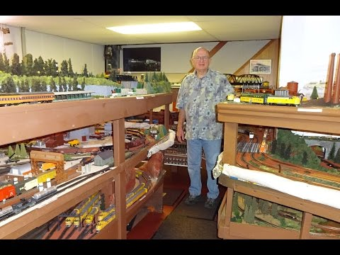 Large Model Railroad RR HO H.O. Scale Gauge Train Layout of Bill Otter 's trains Extended Cut 1 of 2