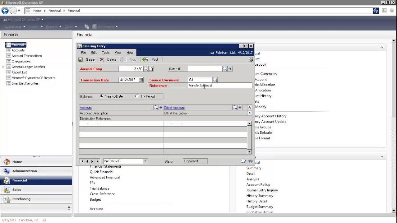 microsoft dynamics gp - clearing transactions