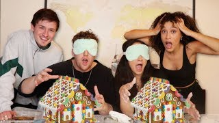 BLINDFOLDED GINGERBREAD HOUSE CHALLENGE! VS COREY & CRAWFORD!
