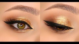 Золотой вечерний макияж со стрелками