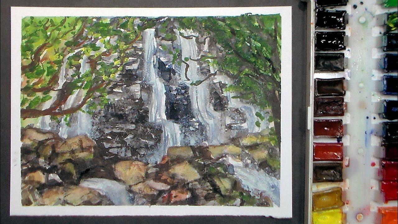 Waterfall watercolor painting tutorial real time youtube for Video tutorial on watercolor painting