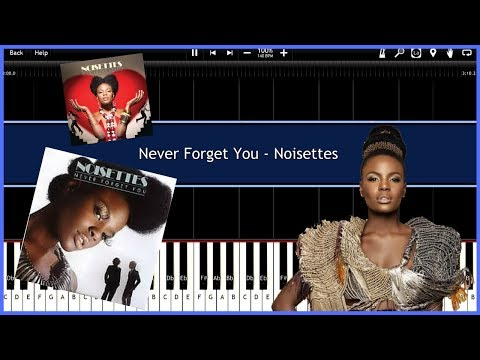 Never Forget You - Noisettes (Synthesia) [Tutorial] [Instrumental Video] [Download]