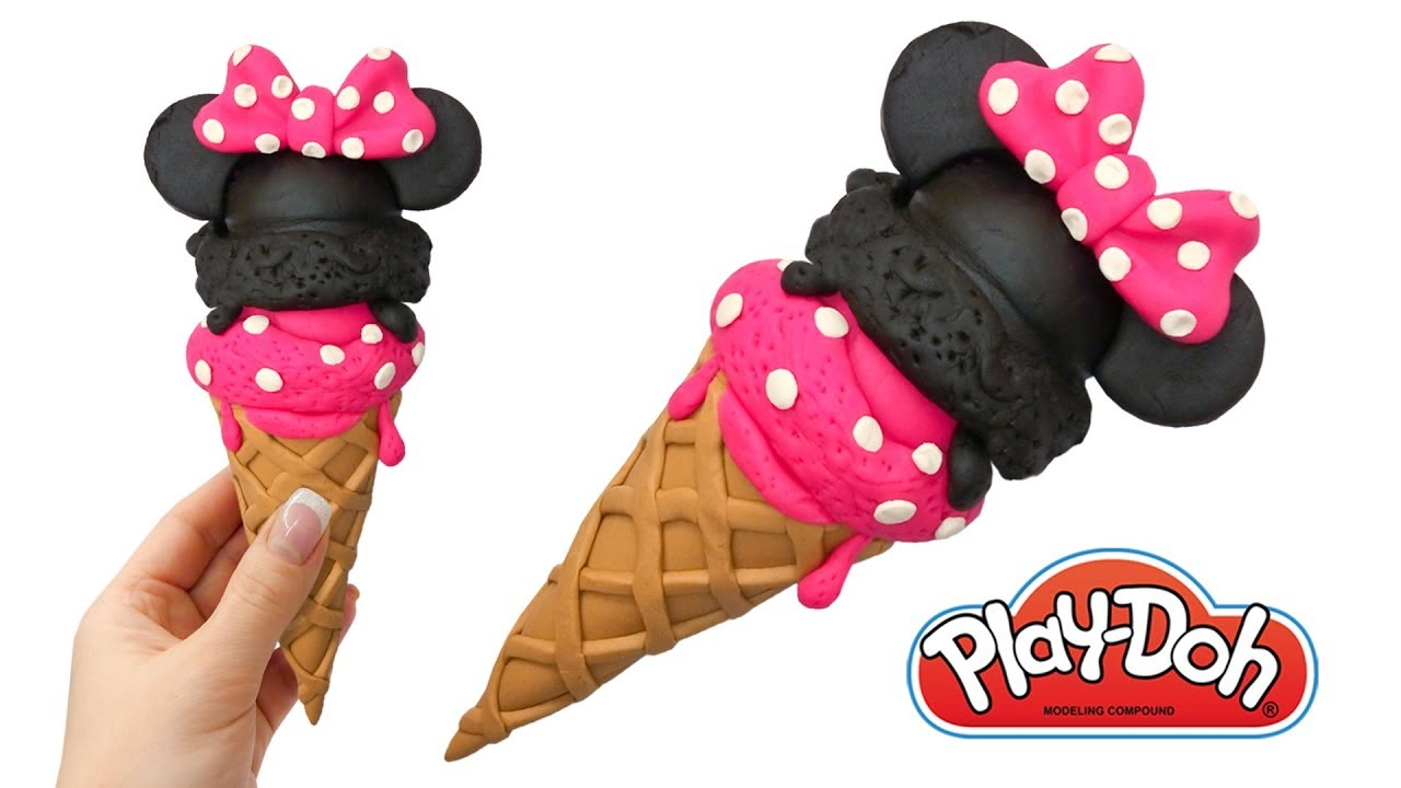 play doh disney minnie mouse ice cream cone make toy out of play doh