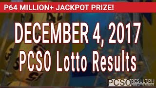PCSO Lotto Results Today December 4, 2017 (6/55, 6/45, 4D, Swertres & EZ2)