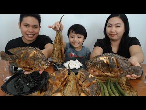 Filipino Food | Pritong Tilapia + Adobong Pusit + Tortang Talong + Nilagang Okra Mukbang