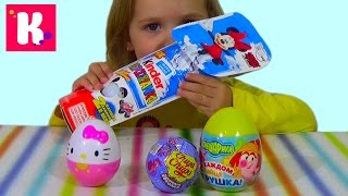МЛП Хелло Китти Смешарики Минни Маус яйца сюрприз игрушки распаковка Kinder Surprise unboxing toys