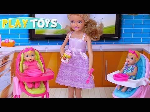 Barbie Baby Doll Chelsea BabySitting Twins in Barbie Dream Dollhouse!  Pretend doll play by PlayToys