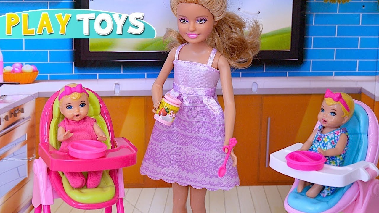 Baby Twins Routine Barbie Baby Doll Chelsea Babysitting Twins In Dollhouse